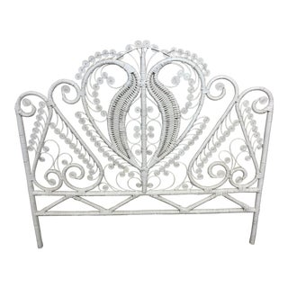 Vintage Boho Chic Wicker Full Size Headboard For Sale