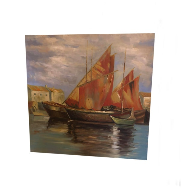 Canvas Sailboats Off the Coastline Painting Mid Century France For Sale - Image 7 of 7