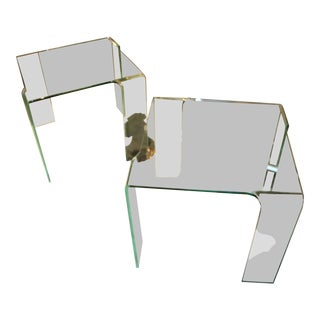 1980s Italian Glass Tables Attributed to Fiam - a Pair For Sale