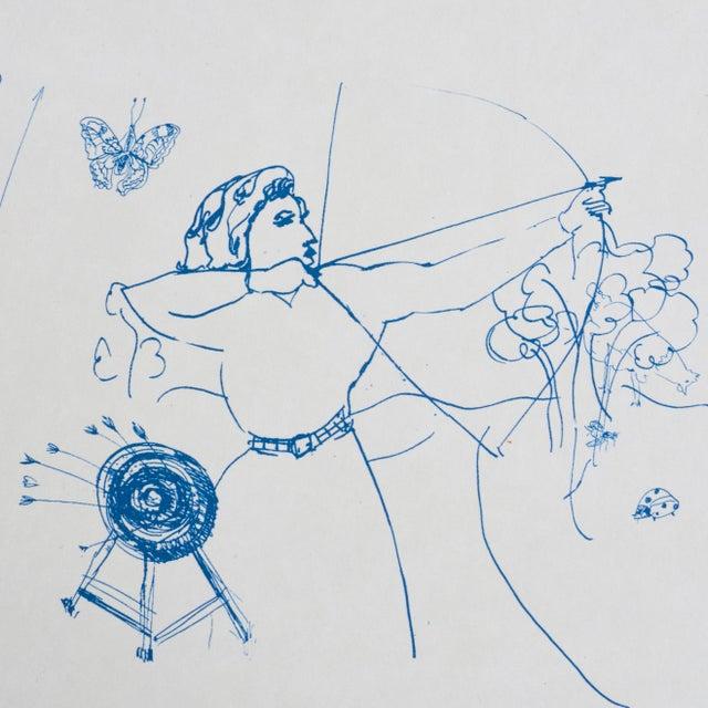Schumacher Schumacher x Peg Norris: Jackie Gendel Toile De Femmes Wallpaper in Indigo For Sale - Image 4 of 7