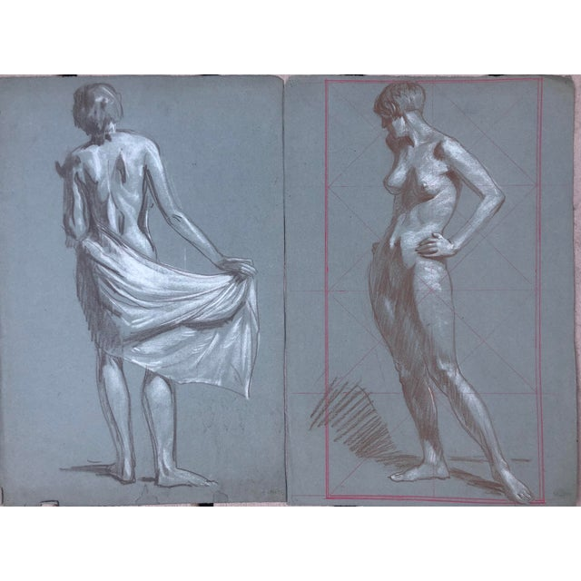 1920s American Modernist Nude Drawings by Kenneth Hartwell - a Pair For Sale In West Palm - Image 6 of 6