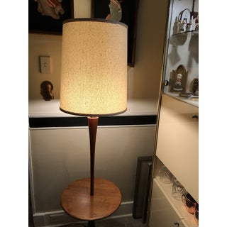 1960s Mid Century Danish Modern Laurel Wood and Metal Base Table Floor Lampwith Shade Preview