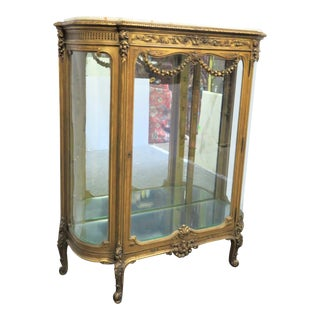 19th Century French Gold Gilt Rose Carved Curio Cabinet For Sale