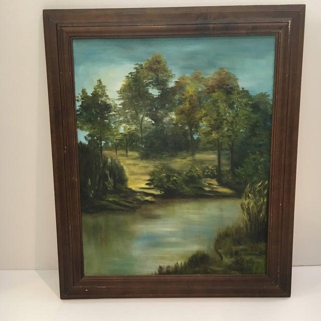 Wooden Framed Landscape Oil Painting - Image 6 of 7