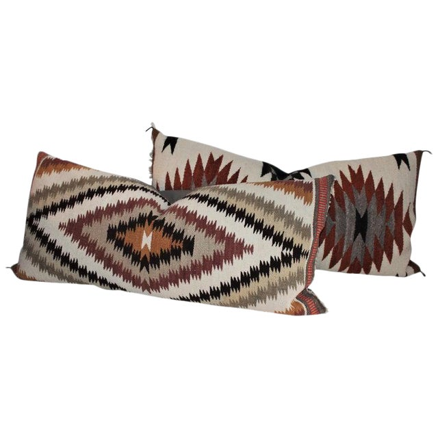 Navajo Indian Weaving Saddle Blanket Pillows - Set of 2 For Sale