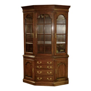 1980s Traditional Harden Two Piece Cherry Lighted China Cabinet For Sale