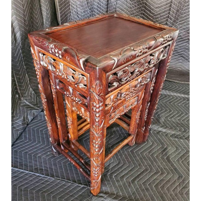 Antique Chinese Carved Nesting Tables - Set of 3 For Sale - Image 9 of 11