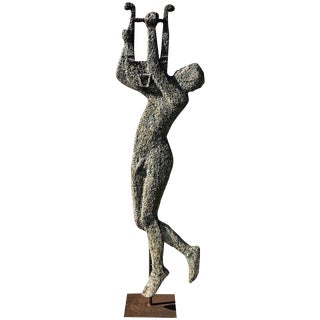 French Modern Zinc and Iron Totemic Sculpture of Apollo with His Lyre