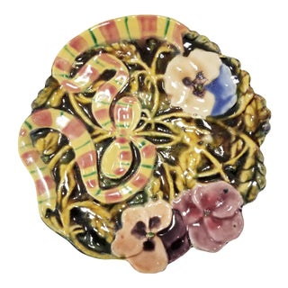 Majolica Style Floral Plate For Sale