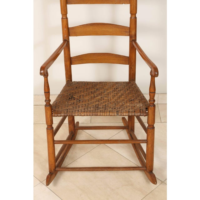 Country Early 20th Century Ladder High Back Rocking Chair For Sale - Image 3 of 7