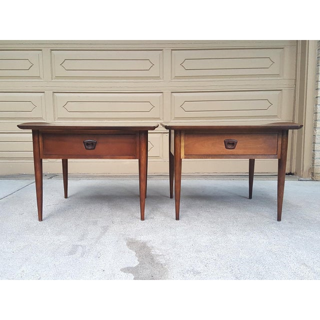 Bassett Mid-Century Modern Artisan End Tables - A Pair - Image 3 of 10