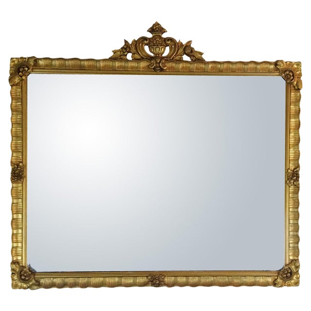 Antique Gilded Crested Wooden Wall Mirror - Image 1 of 8