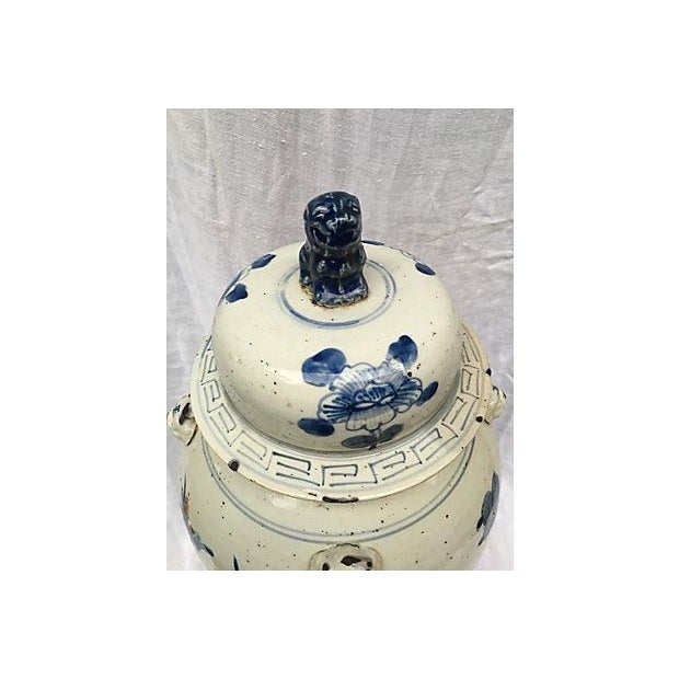 Blue & White Ginger Jar With Foo Dog Lid - Image 7 of 8