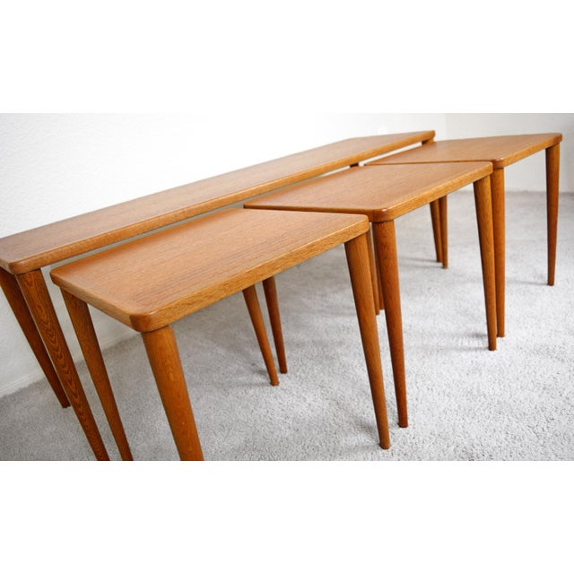 Wood Dux of Sweden 1960s Teak Coffee Table With Three Nesting Tables - 4 Pieces For Sale - Image 7 of 13