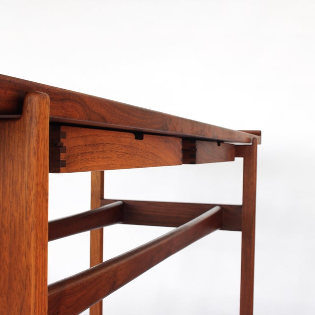 1960s 1960s Danish Modern Jens Risom Console Table With 2 Drawers For Sale - Image 5 of 12