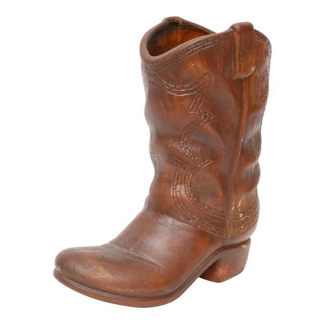 Vintage Ceramic Cowboy Boot Vase | Chairish