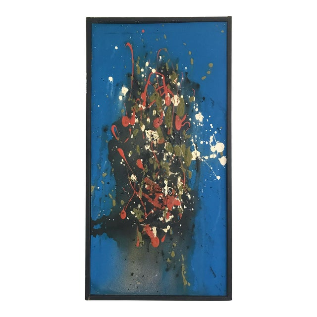 Mid Century Modern Abstract Expressionist Original Painting Style of Jackson Pollock For Sale