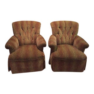 Custom Upholstered High Back Tufted Leopard Print Lounge Chairs - a Pair For Sale