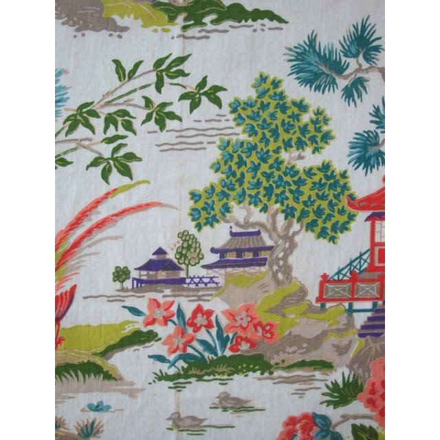 Chinoiserie Pagoda Cotton Fabric - 4.8 Yards - Image 3 of 6