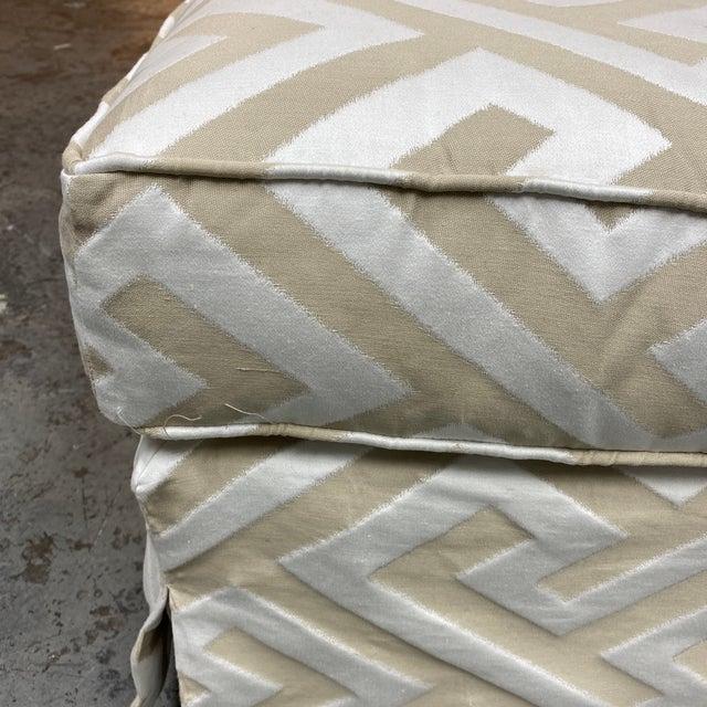 Lee Industries Custom Embossed Silk Ottoman For Sale In San Francisco - Image 6 of 8