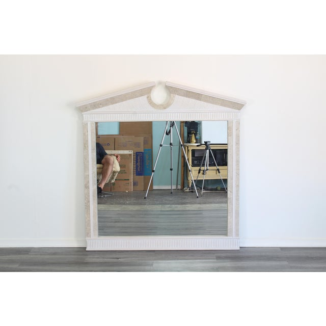 Wood Vintage Pencil Reed and Tessellated Stone Wall Mirror For Sale - Image 7 of 7