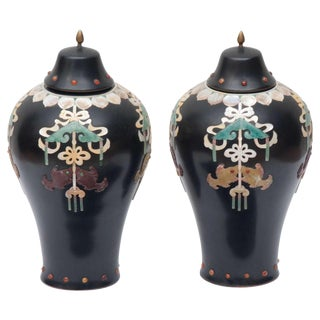 Early 20th Century Vintage Chinese Lacquer Vases- a Pair For Sale