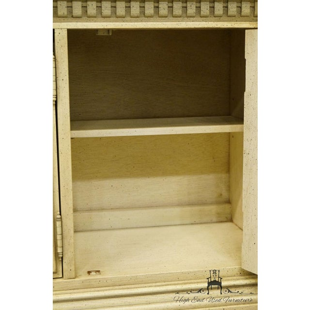 "Glass Stanley Furniture French Provincial 52"" Antique White China Cabinet For Sale - Image 7 of 13"