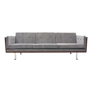 Danish Modern Rosewood Case Sofa by Jydsk Møbelværk, Gray Velvet Upholstery