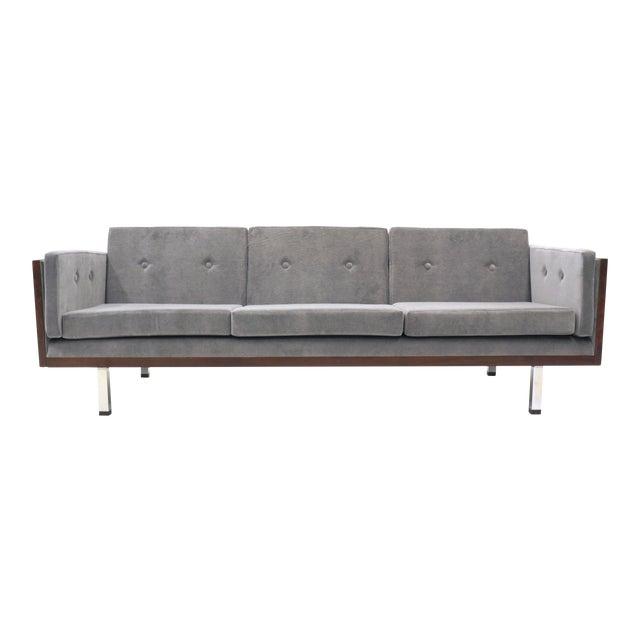 Danish Modern Rosewood Case Sofa by Jydsk Møbelværk, Gray Velvet Upholstery For Sale