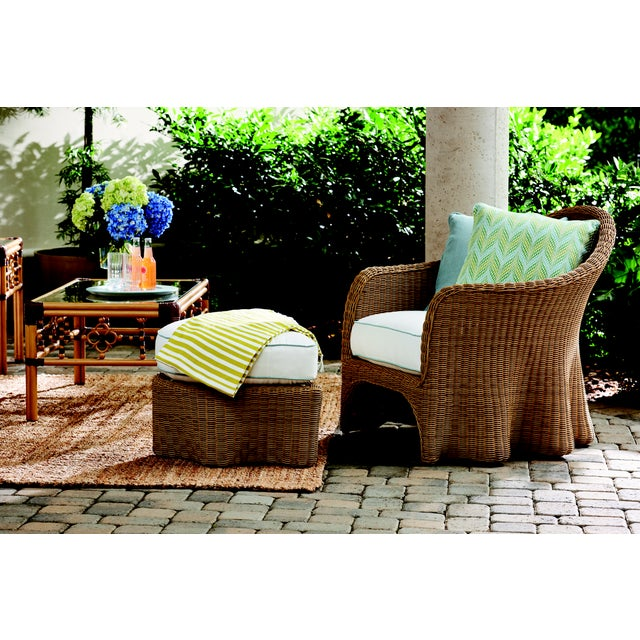 Boho Chic Celerie Kemble - Crespi Wave Outdoor Ottoman For Sale - Image 3 of 5