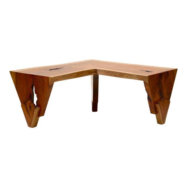 1980s Live Edge Waterfall Corner Table/Bench For Sale