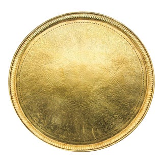 Antique Moroccan Round Brass Tray For Sale
