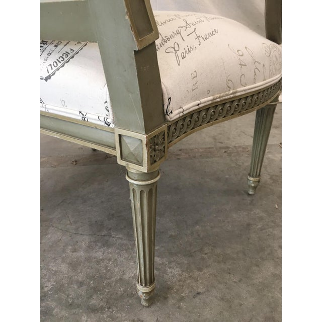 White French Antique Painted Armchairs - a Pair For Sale - Image 8 of 13