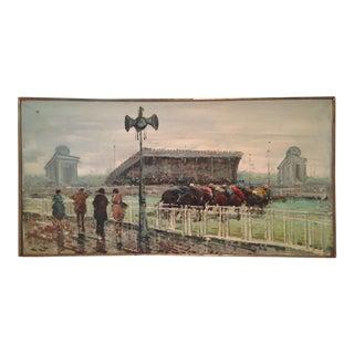 l'Arc De Triomphe 1920s Vintage Original Oil Painting Horse Race For Sale