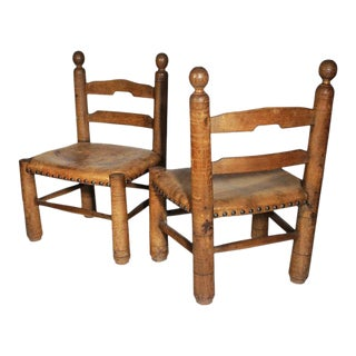 Low Leather German Chairs - A Pair For Sale
