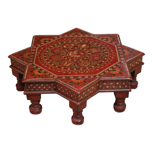 1920s Indian Painted Wooden Low Coffee Table For Sale