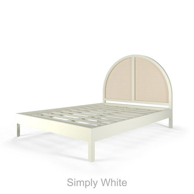 Eva Bed features the lovely Arched Cane Headboard and flat-panel wood bed frame with slats rendering a box spring...