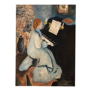 "L.Burris Hand Painted Reproduction of 1876 Renoir's ""Lady at the Piano"""