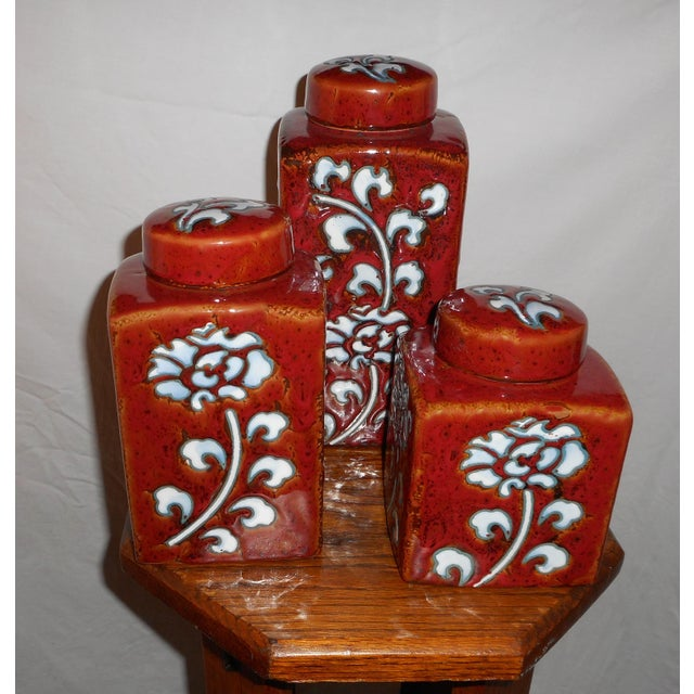 Chic Kitchen Oxblood Red Glaze Pottery Canisters - Set of 3 - Image 5 of 13