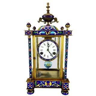 French Cloisonne Clock For Sale