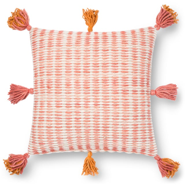 """2010s Justina Blakeney X Loloi Pink / Orange 22"""" X 22"""" Cover with Down Pillow For Sale - Image 5 of 5"""