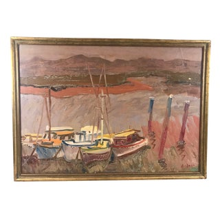 1930's Oil on Board Boats in Ventura County For Sale