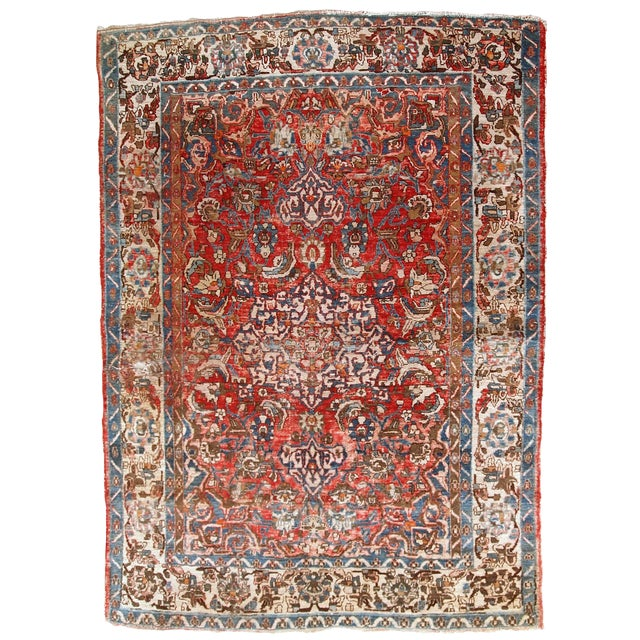 1900s, Handmade Antique Persian Mahal Distressed Rug 4.6' X 6.5' For Sale