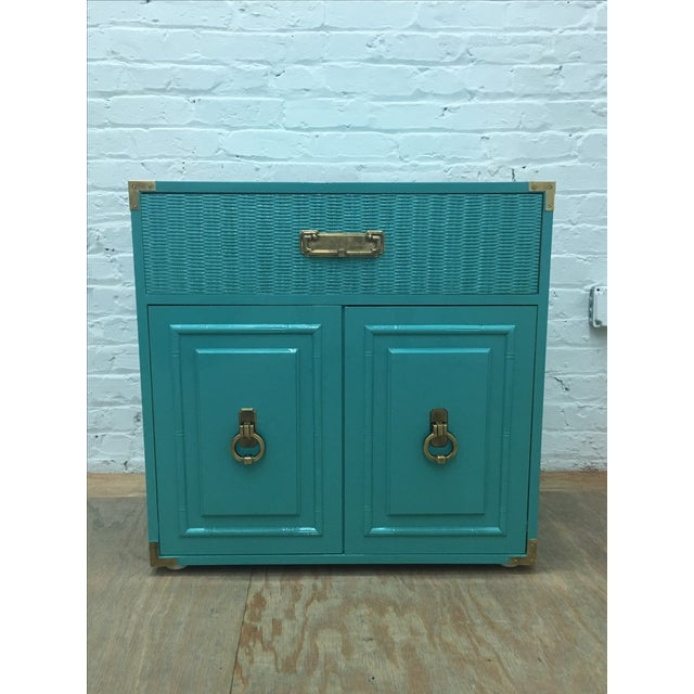 Dixie Lacquered Turquoise Faux Bamboo Credenza - Image 2 of 11
