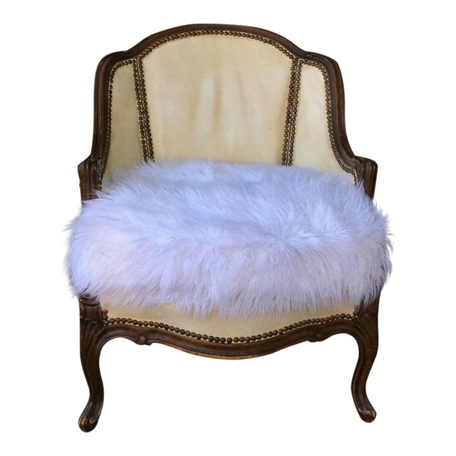 Vintage Leather & Faux Fur Club Chair For Sale