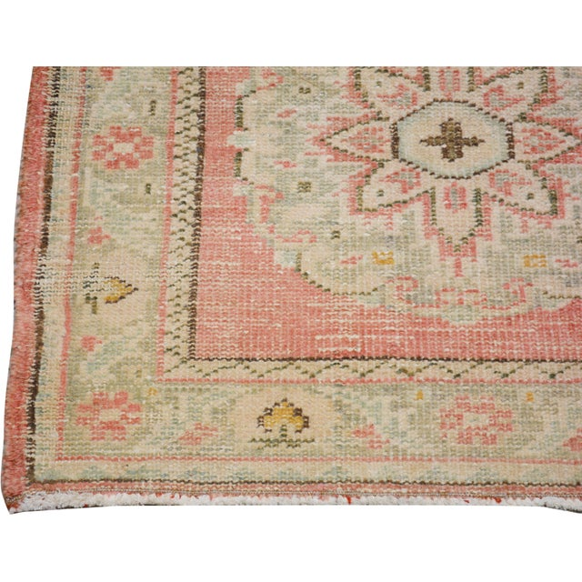 "1950s Vintage Turkish Hand Knotted Whitewash Organic Wool Fine Weave Runner Rug,2'6""x11'6"" For Sale - Image 5 of 6"