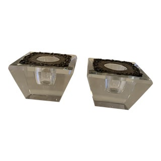 Vintage 1950s Lead Crystal Candle Holders - Set of 2 For Sale