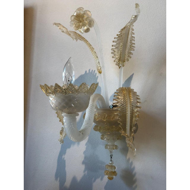 Italian Murano Glass Handblown Sconces With Milk White Glass and Gold Leaf, Early 20th C. - a Pair For Sale - Image 3 of 6