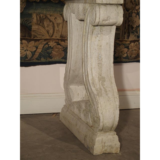 Antique Carved White Marble Console Table from France, 19th Century For Sale - Image 11 of 13