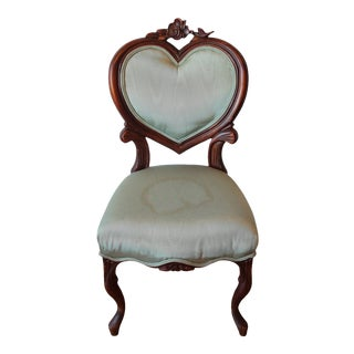 1920s Antique Wooden Heart Shaped Chair For Sale